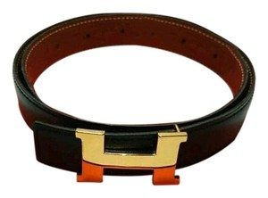 Hermès HERMES Gold Tone H Buckle Belt Size 65 Reversible Black and Brown With Box