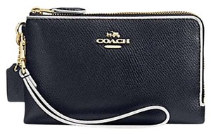 Coach Double Zip Leather Crossgrain Navy Wristlet in Midnight Blue & Chalk