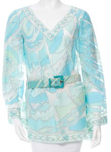 Emilio Pucci Tunic Silk Belted Longsleeve Top Blue, Green