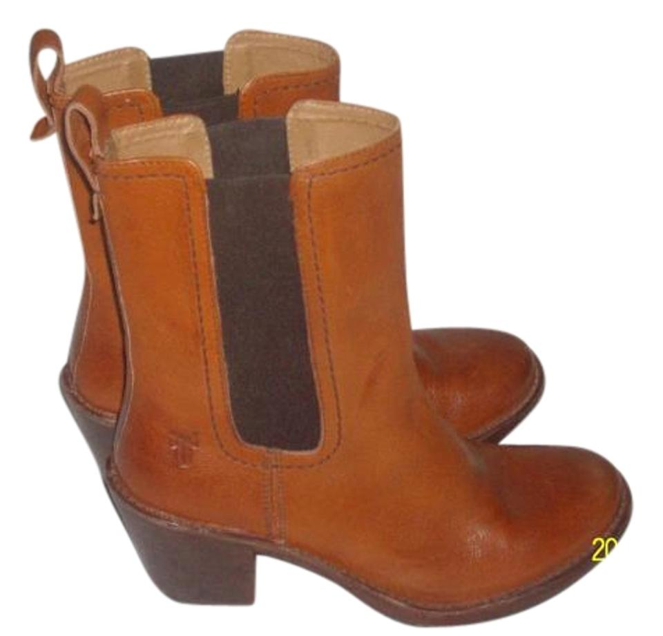 Frye Chestnut Pre Own Mid Leather Elastic Slip On Mid Own Caif Boots/Booties 62032f