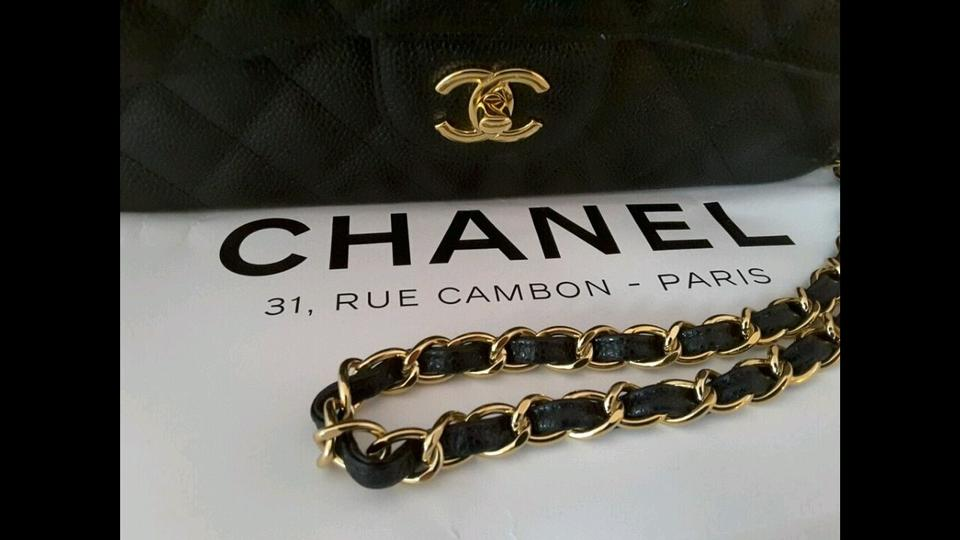 be58b04f5aefc7 Chanel Flap Classic Caviar Quilted Jumbo Gold Hrw Black Leather ...