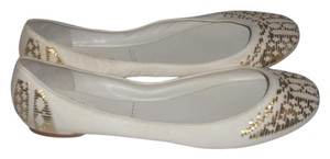 Belle by Sigerson Morrison White/Gold Flats