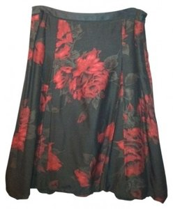 Ann Taylor Skirt Black with red rose pattern