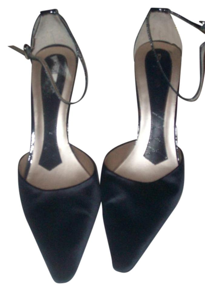 f635ce45ea2 Jones New York Navy Blue Covered Heel Leather Outer Soles Ankle Strap Pumps