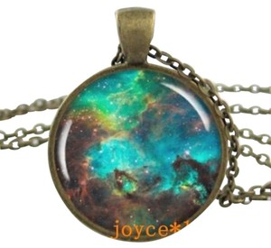Galaxy Design Photo Glass Dome Bronze Handmade Charm Necklace
