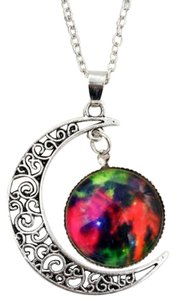Galaxy Colorful Moon Design Photo Glass Dome Bronze Handmade Charm Necklace