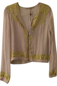 Twelfth St. by Cynthia Vincent Sequin Yellow Sheer Lightweight Bomber Beige Jacket