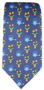Hermès HERMES Navy Silk Flower Pot Printed Tie