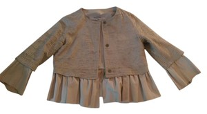 Valentino Ruffle Sand Tan Leather Beige Leather Jacket