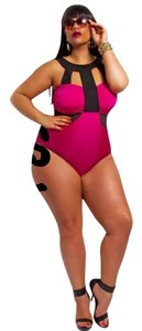 Other New Fuchsia & Black Caged One PC Bathing Suit Tag Sz XXXLarge (FITS US 4-16)