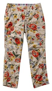 Anthropologie Trouser Floral Flower Print Ankle Length Cargo Pants Khaki