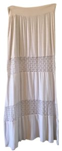 South Castles Coachella Spring Summer Hamptons Resort Maxi Skirt White