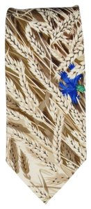 Hermès HERMES Beige Wheat Shaft Printed Silk Tie
