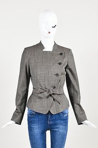 Max Mara Max Mara Brown Plain Weave Wool Asymmetric Buttoned Belted Blazer Jacket