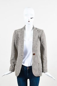 Valentino Vintage Valentino Brown Cream Checkered Wool Ls Blazer Jacket