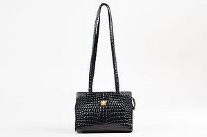 Versace Vintage Gianni Crocodile Embossed Leather Shoulder Bag