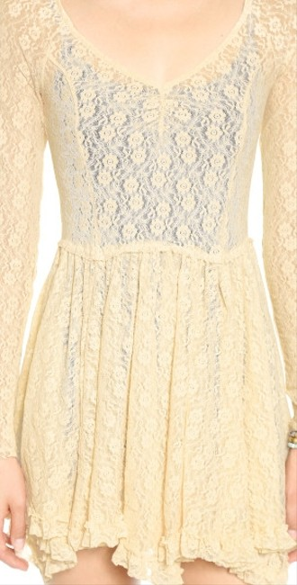 Free People short dress Tea Star Lace Witchy Slip on Tradesy