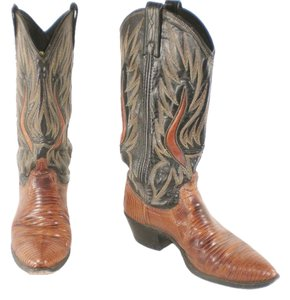 Dan Post Boots Lizard Leather Cowboy Whisky Brown Boots