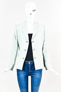 Giorgio Armani Giorgio Armani Mint Green Cotton Linen Silk Textured Button Blazer Jacket