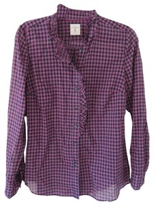 Gap Plaid Pink Blue Navy Button Down Shirt Pink/Blue