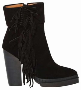 Jeffrey Campbell Fringe Suede Leather Black Boots