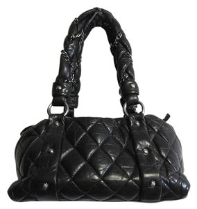 Chanel Quilted Leather Distressed Tote in Black