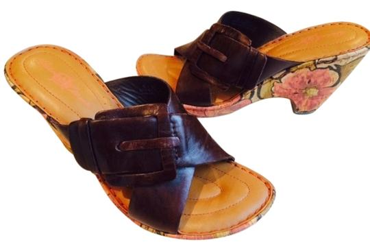 Barn Crown Leather brown with floral sides Sandals