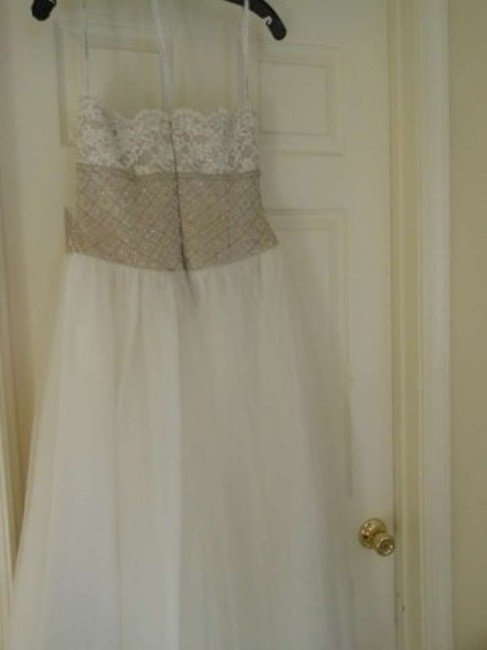 David\'s Bridal Creme Name: Strapless Beaded Gown Description: Gown ...