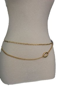 Women Fashion Belt High Waist Hip Gold Metal Chains Wave Oval Charm Plus