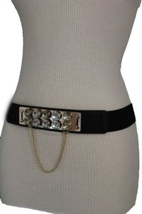 Women Black Elastic Belt Hip High Waist Gold Metal Chain Big Silver Beads