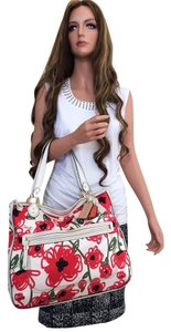 Coach Floral Red Flowers Floral Tote in white