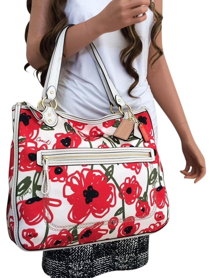 Coach Red Flowers Floral Print Purse White Satin Tote Tradesy