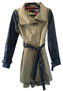 Steve Madden Faux Leather Leather Contrast Color-blocking Trench Coat Green Jacket