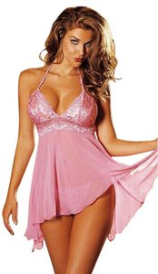 LGH Sexy Pink Mesh And Lace Babydoll Lingerie Sleepwear + G-string