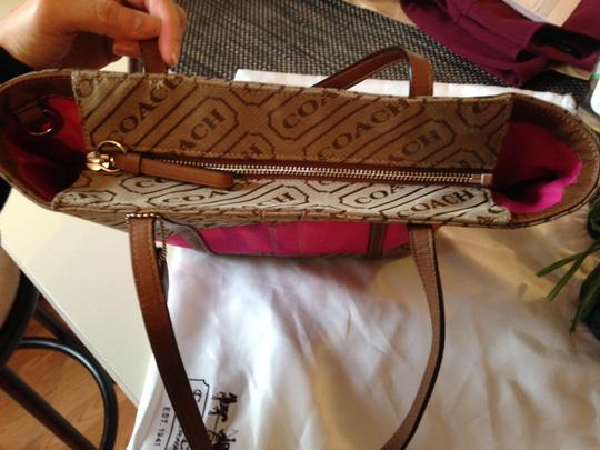 Coach Satchel in Brown/Pink Accent