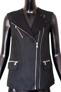 Rebecca Taylor Leather Moto Asymmetrical Vest