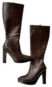 Colin Stuart Leather Plarforms Dark Brown Boots