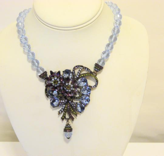 Heidi Daus Vintage Heidi Daus Blue Topaz-Color Crystal Necklace with Drop