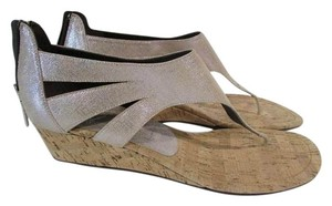 Donald J. Pliner Decima Thong Sandal Metallic Cut Out Silver Wedges