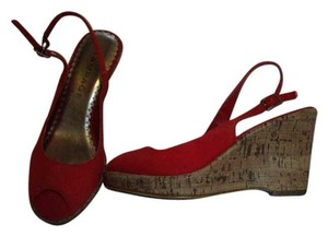 Rampage Open Toe Cork Heels Canvas Uppers Ankle Strap Silver Square Buckle Red Wedges
