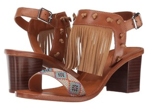 Ash Patchouli Beaded Fringed Leather Tribal 38 Brown Sandals