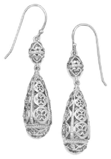 Impulses Rhodium Plated Sterling Silver Cut Out Drop Earrings