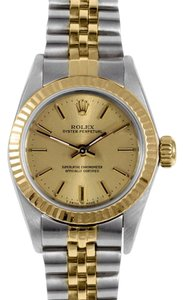 Rolex Rolex Oyster Perpetual Two-Tone Champagne Dial No Date Watch