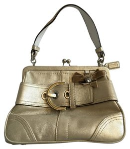 Coach Leather Bow Satchel in Metallic Gold