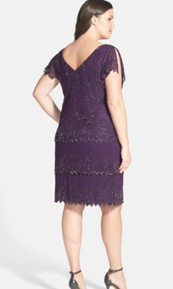 JKara Purple Beaded V-neck Short Cocktail Dress Size 22 (Plus 2x ...