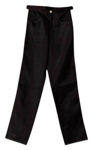 Dollhouse Striped Satin Straight Leg Trouser Pants Black