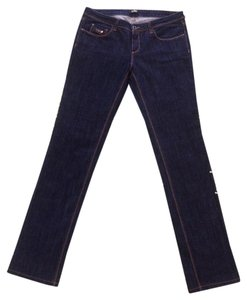 CoSTUME NATIONAL Low Waist Top Stitches Cnc Straight Leg Jeans-Dark Rinse