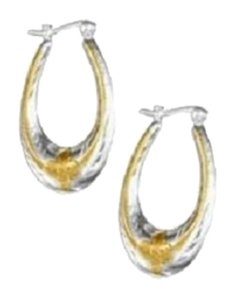 Impulses STERLING SILVER TWO-TONE ETCHED OVAL HOOP EARRINGS WITH FLOWERS