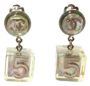 Chanel Vintage Rare Chanel Iridescent Ivory CC 5 Dice Clip on Earrings