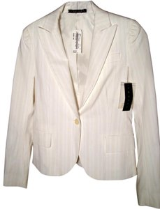 Theory Theory White Blazer with Thin Khaki Pin Stripes